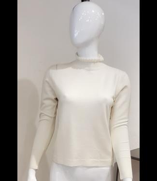 Maison Montagut Ivory ruffle neck sweater