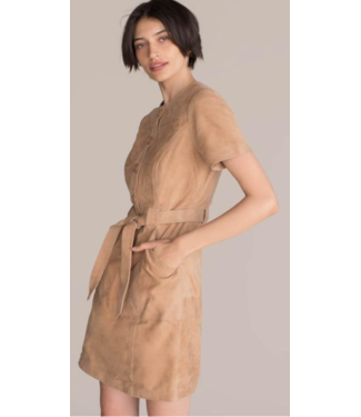 trina turk Suede belted dress
