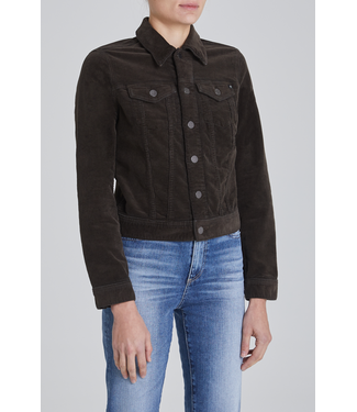 Brown Cropped Stretched Corduroy Jacket