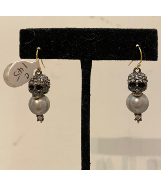 alexis bittar Skull-Pearl Drop Earring