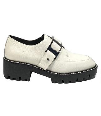 Donald Pliner Crinkle patent ivory buckle shoe