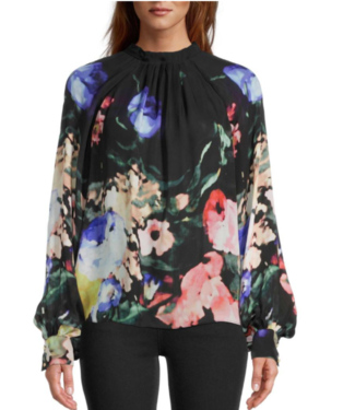 nicole miller High neck pleated printed blouse