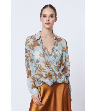 Italiano Blue and Gold Printed Surplus Blouse