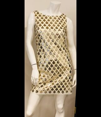 Milly Ecru-Gold Sequin Dress