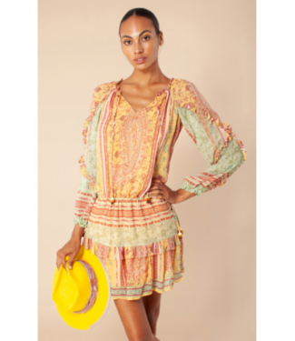 hale Bob Gold Anita Blouson Dress