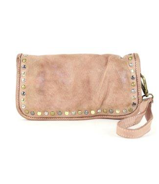 Italian smooth wallet w/stud blush