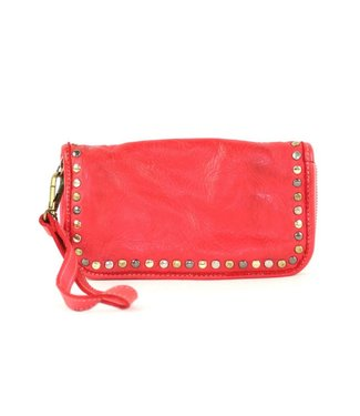 Red smooth wallet W/studs