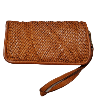 Woven leather wallet/clutch saddle