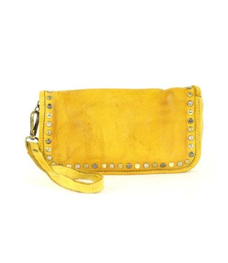 Smooth leather wallet w/stud Yellow