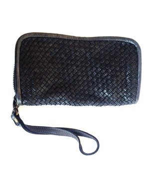 Woven leather wallet/clutch