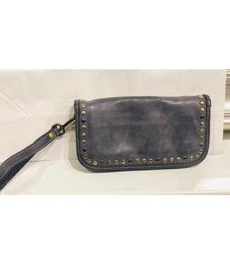 Smooth wallet w/stud grey