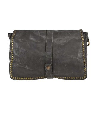 Leather foldover with grommets