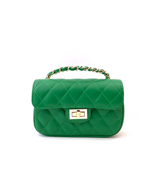 Quilted foldover small bag with chain strap