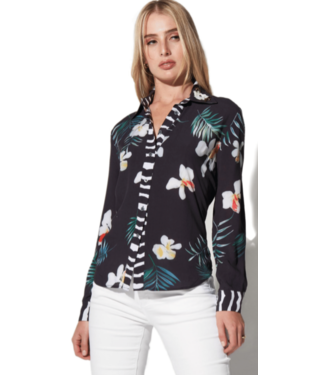 Oolala Black Orchid Print Button Down