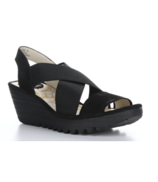 Fly Black Wedge Sandal