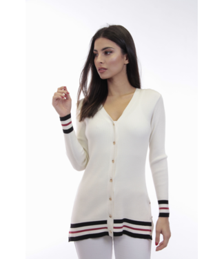 dolce Cabo Long Sleeve Button Cardigan in Ivory