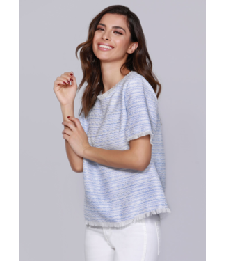 dolce Cabo Striped Tweed Top in Light Blue