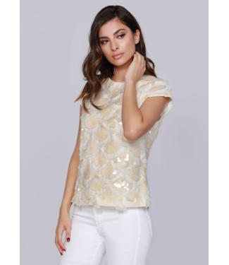 dolce Cabo Nude Sequin Cap Sleeve Top