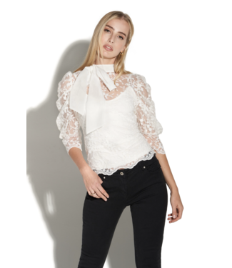 Oolala Lace L/S Ruched Blouse
