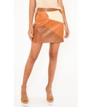 nicole miller Leather Patchwork Skirt