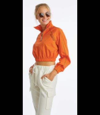 Juicy Couture Cropped Blazing Orange 1/4 Zip