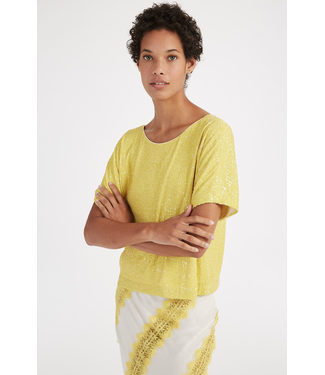 Milly Yellow Stretch Sequin Dolman