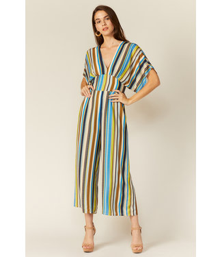 Adelyn Rae Striped Lindsey Jumpsuit
