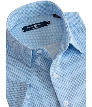 Stone Rose Blue Textured Print Button Down S/S