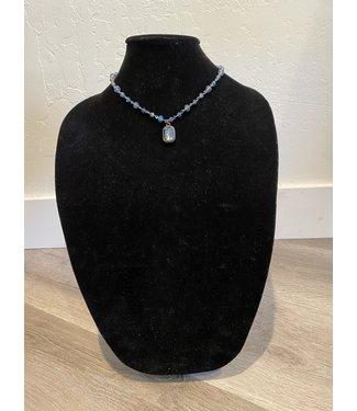 Lula 'n' Lee Blue Crystal Necklace w/ Blue Crystal