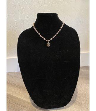 Lula 'n' Lee Pink Crystal w/ Teardrop Crystal Necklace
