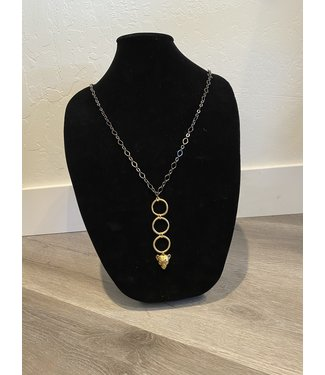 Lula 'n' Lee 32 inch Two Tone Necklace w/ Cheetah Pendant