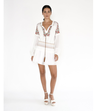 nicole miller White Embroidered Smock Dress