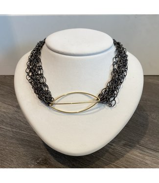 Claudia Lobao Multi Gunmetal Chains with gold accent