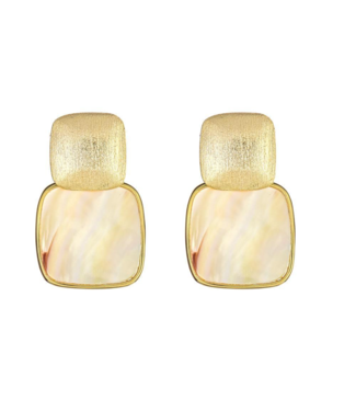 Cristina Sabatini Mini Square Gold Drop Earring