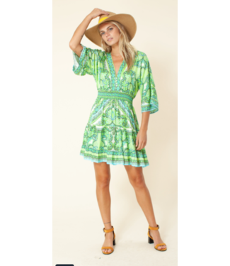 hale Bob Lime Silk Smocked Dress