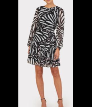 Milly Black/White Butterfly Dress size 4