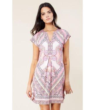 hale Bob Blush Printed Short Sleeve Dress