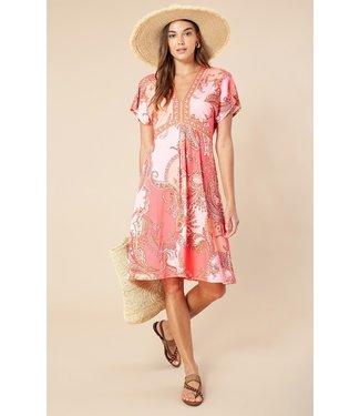 hale Bob Coral Printed Vneck Dress