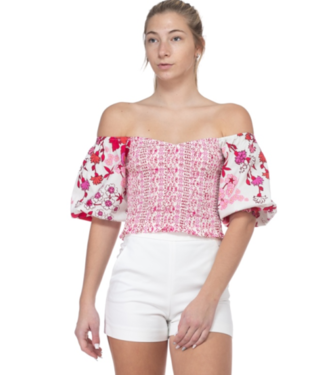 Floral Sleeve Rouched Tube Top
