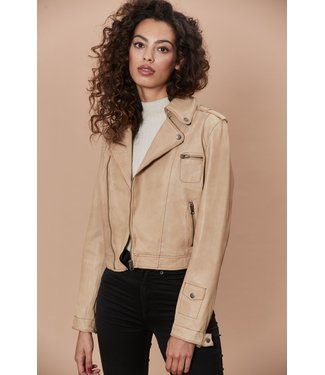 Jakett Au Lait  Leather Zip Jacket
