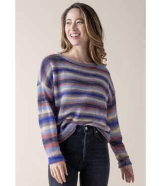 Margaret O'Leary Azure Striped Mohair Sweater