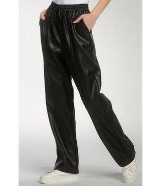 sen Washington Drawstring Leather Pant Black
