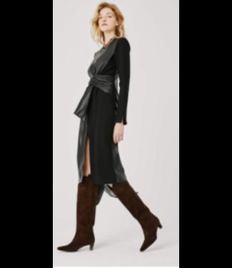 Beatrice B Ponte Pleather Mix Media Dress