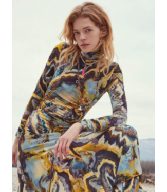 Beatrice B Fitted Swirl Print Long Dress