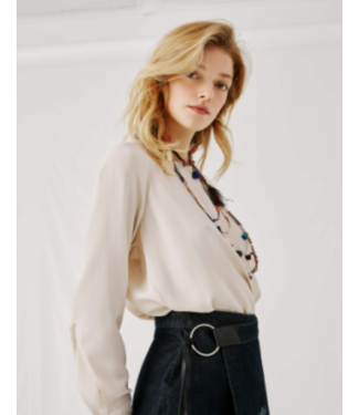 Beatrice B Cream Crepe Blouse with Cuff Sleeves