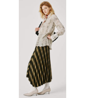 Beatrice B Plaid Olive Pleated Wrap Skirt