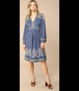 hale Bob Blue/Gold Dress w/Accent Shoulders
