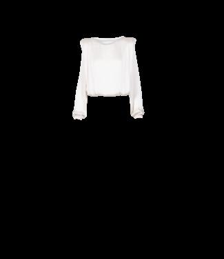 Anonyme Satin Shoulder Blouse White