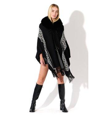 Oolala Printed Fur Collar Wrap B/W