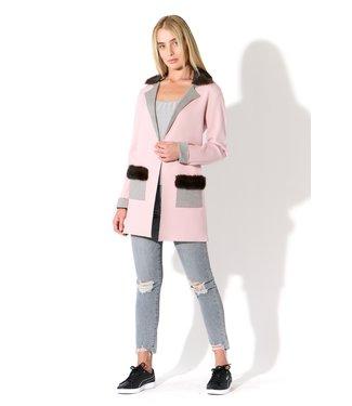 Oolala Knit Mink Fur Trim Blazer Pink/Grey